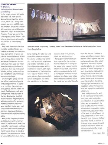 Sculpture Magazine, Nov 2006 Vol.25 No.9, U.S.A, pg. 80 by Jane Ingram Allen