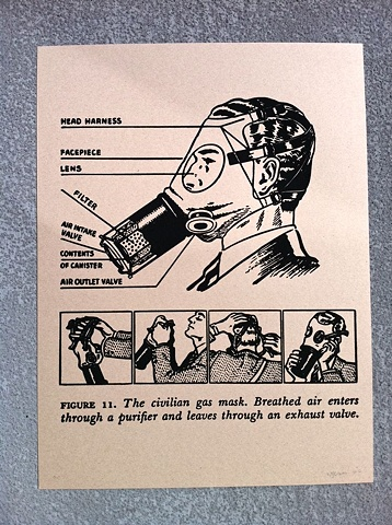 the civilian gas mask illustration was issued to warn the american public in times of impending war, circa WWII wartime cold war propaganda pamphlet