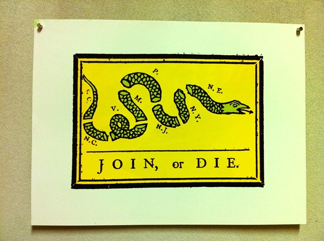 Join Or Die americana united states of america woodblock lino block protest poster benjamin franklin philadelphia
