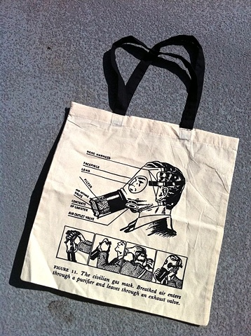 Hand Pulled-Screen Printed Shopping Tote. The Civilian Gas Mask-Breathed air enters through a purifier and leaves through an exhaust valve. wartime cold war propaganda safety pamphlet