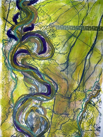 encaustic, digital & mixed media, mapping, inspired by Robert Fisk's maps of the MIssissippi River.