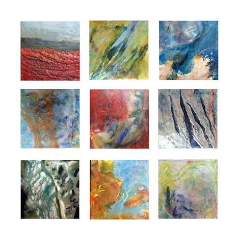 Series of small paintings, high viewpoint aerials and some micrographic images.