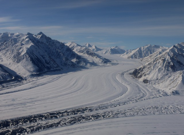 Aerial - 2 arms of Kaskawulsh Glacier