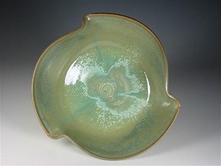 Wave Lip Bowl  - Green Crystal