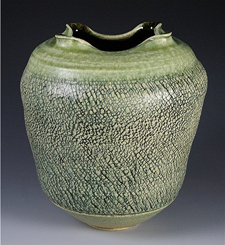 Green Altered & Textured Vase