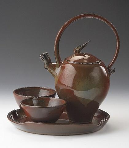 Red Loop Handle Tea Set