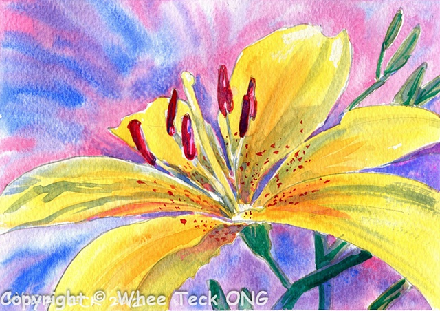 Whee Teck, Watercolor, Watercolour, Bright, Intense, Colors, Colours, Drib Drab.  Yellow Lily.