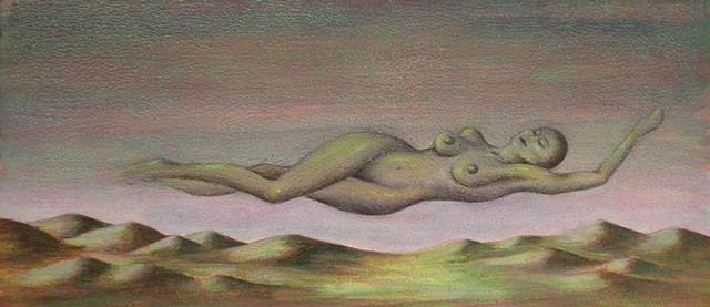 nude landscape on panel by Karen S Purdy artist