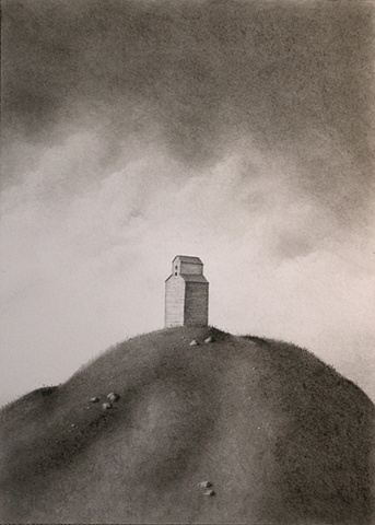Charcoal landscape drawing on paper by Karen S. Purdy