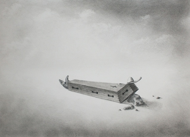 charcoal drawing on paper, magic realism by female artist Karen S. Purdy