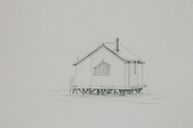 graphite drawing on paper of Tomales Bay landscape by female artist Karen S. Purdy