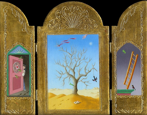 oil painting triptych of surreal, magic realism by female artist Karen S. Purdy