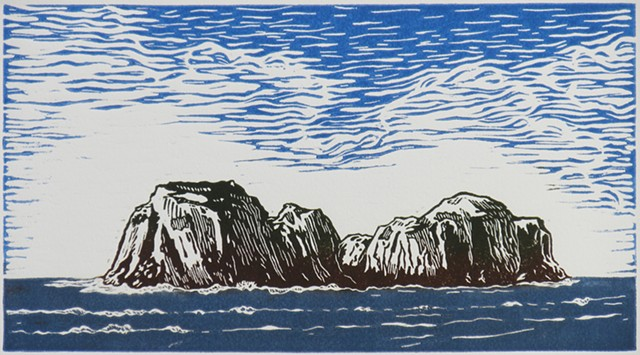 color linocut on paper by female artist Karen S. Purdy