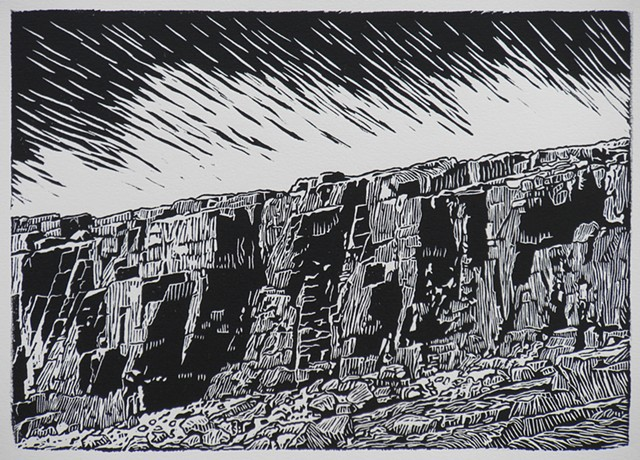 linocut of coastal rocks
