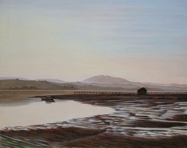 Oil and acrylic painting of Tomales Bay by female artist Karen S. Purdy