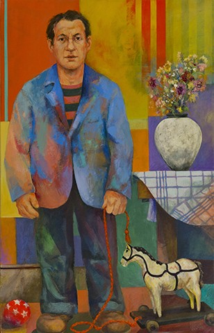 Man With Pull Toy and Dead Flowers
