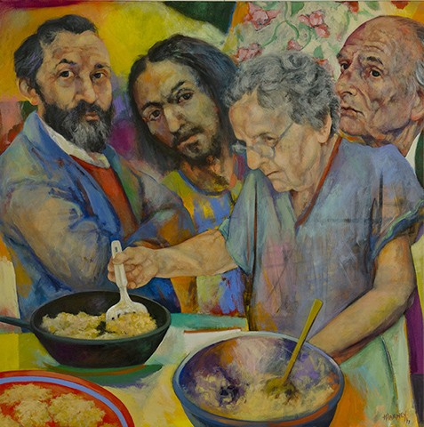 Mom Makes Latkes for Bloom and Jesus, Balthus Leaves the Table