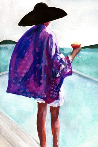 woman with drink in silk kimono