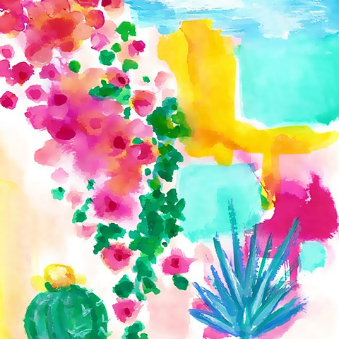 Baja, desert, flora, cacti, painting, watercolor, Mexico panting