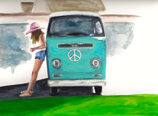 woman with van, peace sign, funky girl, road trip