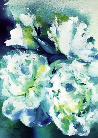 art prints, floral, boho style, minted, blues