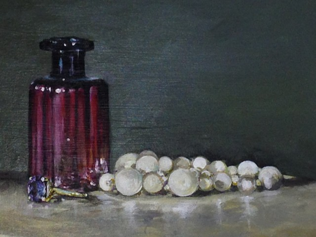 pearls, perfume bottle
