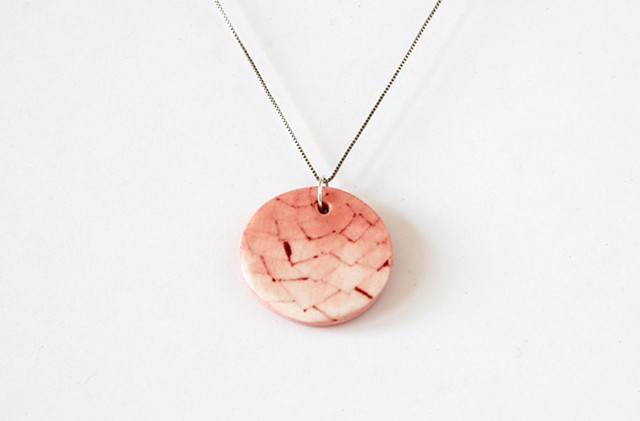 small porcelain ceramic round pendant necklace pine cone pink jewelry