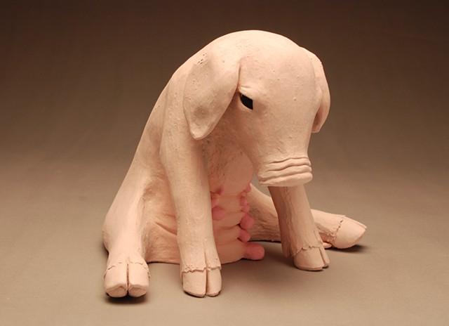 sad piglet mother pig ceramic sculpture vegan bacon ham