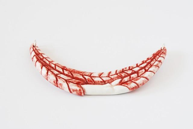 large porcelain ceramic chest statement necklace sheep lamb leg red white