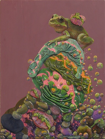 abstraction surface excess oil paint realism frog