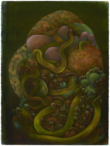 faberge egg abstract organic oil painting colorful