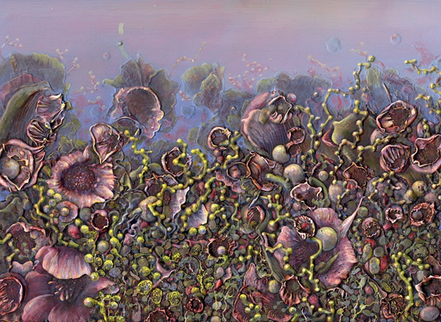 flowers plants flora organic abstraction surface excess oil paint