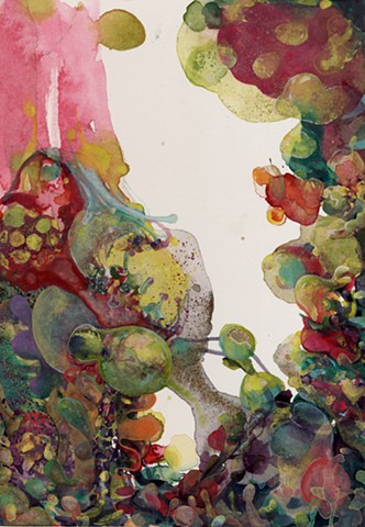 abstract organic waterbased color watercolor painting