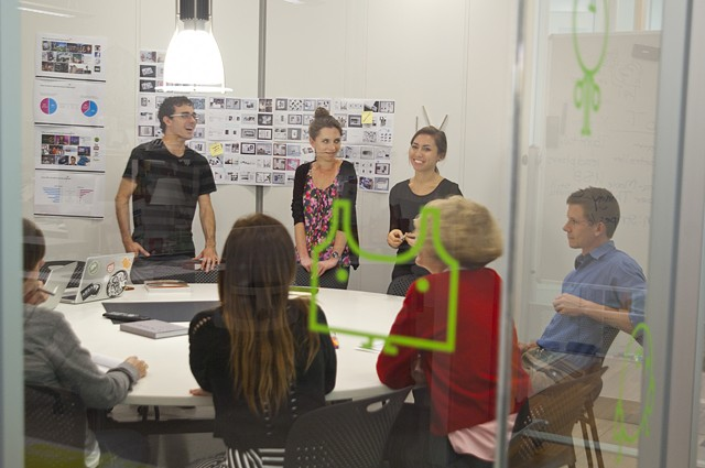 RCAD catalog / viewbook team in a meeting