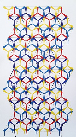 James Sewell Painting Connect (Red, Blue and Yellow) geometric pattern grid