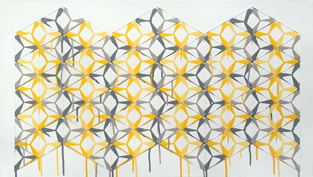 James Sewell Painting Connect (Yellow and Grey) geometric pattern grid