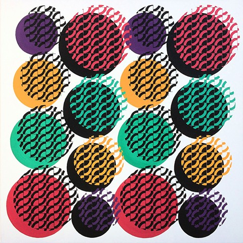 James Sewell Painting geometric pattern grid Plot (Pink, Turquoise, Yellow and Purple)