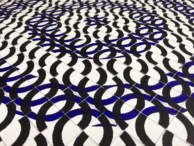 James Sewell Painting geometric pattern grid Ripple (Black and Blue)
