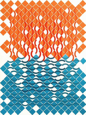 James Sewell Painting Fire and Water geometric pattern grid