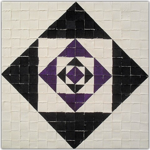 James Sewell Painting Corner (Black and Purple Weave) geometric pattern grid