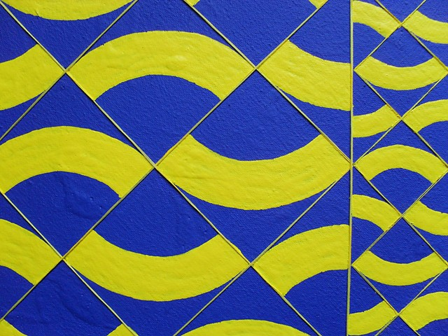 James Sewell painting Split (Blue and Yellow)