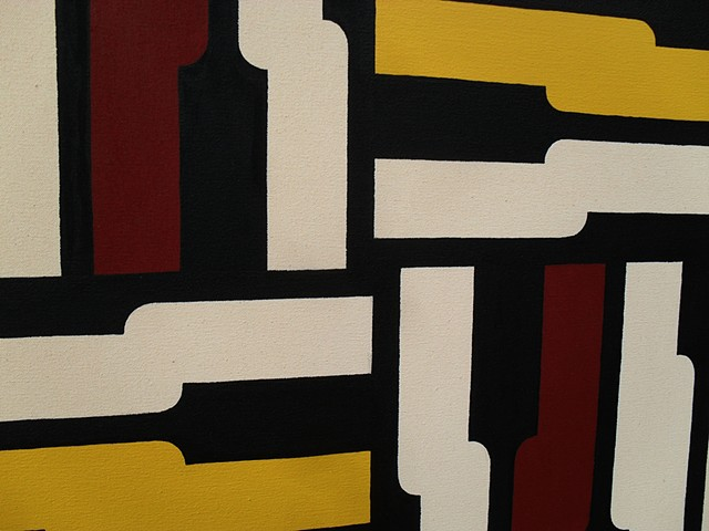 James Sewell Painting Pace (Red and Yellow) geometric pattern grid