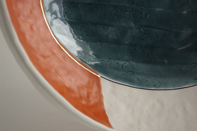 Large Oval Bowl, Pinched, Detail