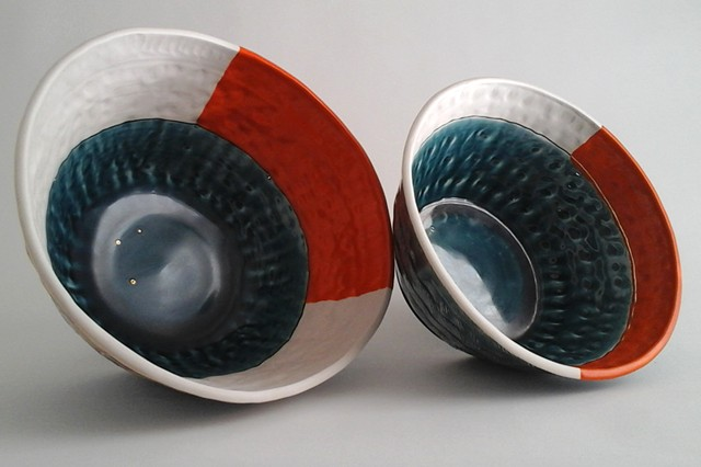 2 Large Thrown Bowls, inside view