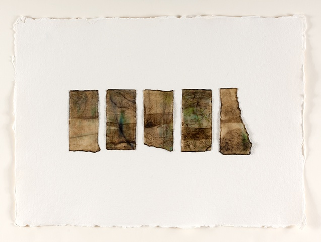 raw beeswax, river mud on maps printed onto mulberry paper