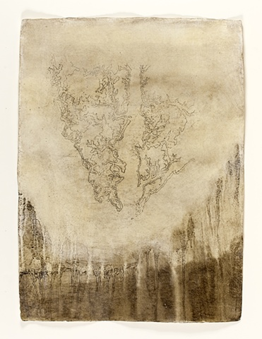 Topographical contour map of river Stour in beeswax and mud on handmade paper