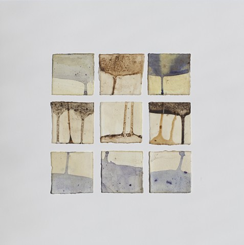 Plant material, raw beeswax and earth from Wave Hill on paper