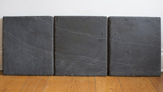 Roofing slates engraved with contours of Hudson River