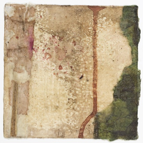 earth pigment, mud, local beeswax, aerial digital image, mulberry paper, vegetation, plant matter