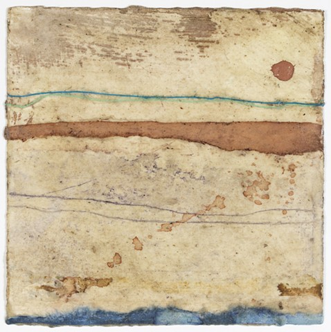 mixed media, local raw beeswax, local earth pigment, mulberry paper, sea threads, aerial digital image